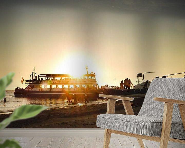 Sfeerimpressie behang: Paardenreddingboot op Ameland van Nico van der Vorm