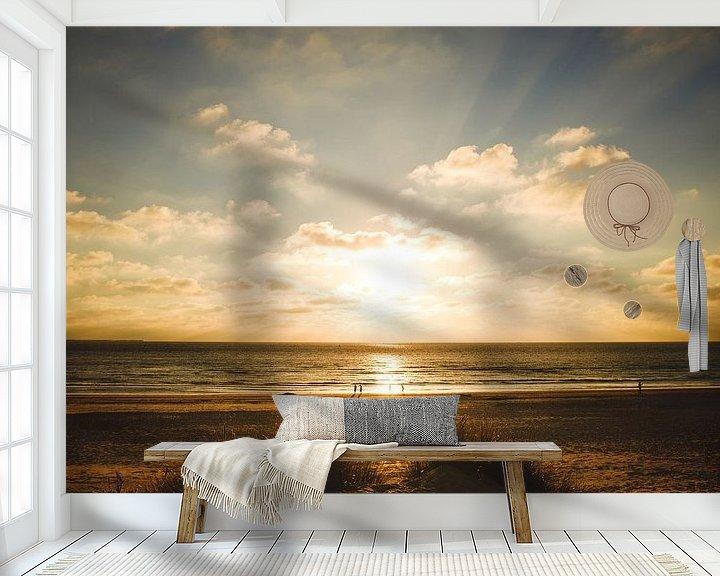 Sfeerimpressie behang: Zonsondergang Ameland van Nico van der Vorm