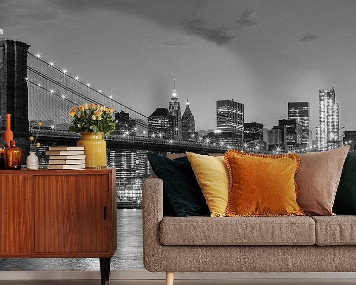 Beispiel fototapete: Skyline New York schwarz und weiß von Bart van Dinten