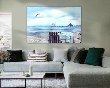 The pier of the seaside resort Heringsdorf van PhotoArt Thomas Klee