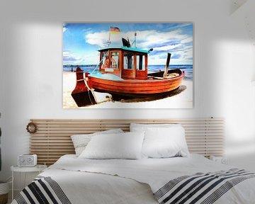 Old fishing boat on the beach of the Baltic Sea coast van PhotoArt Thomas Klee