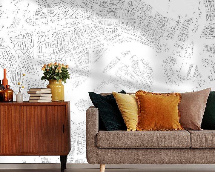Sfeerimpressie behang: Schaduwkaart Rotterdam van Frans Blok