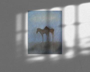 Veulens onder een wolk. van Sabine Trines