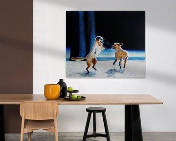 Honden in de sneeuw. van Sabine Trines