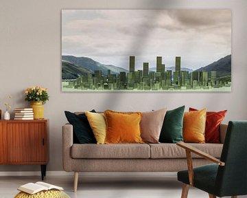 Skyline, abstract, gemaakt van nietjes von Marcel Krol