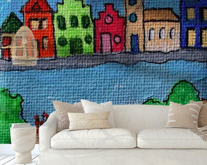 Sfeerimpressie behang: Huis aan het water van Angelique van 't Riet