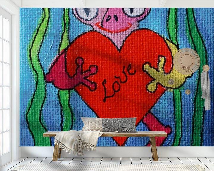Sfeerimpressie behang: Kikker van de liefde van Angelique van 't Riet
