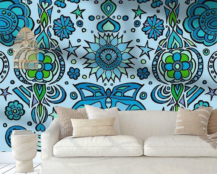 Sfeerimpressie behang: Blue Pattern XXL van Esther  van den Dool