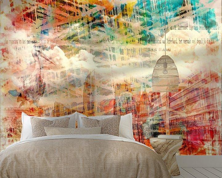 Sfeerimpressie behang: Kleurrijk Den Haag van Carla van Zomeren