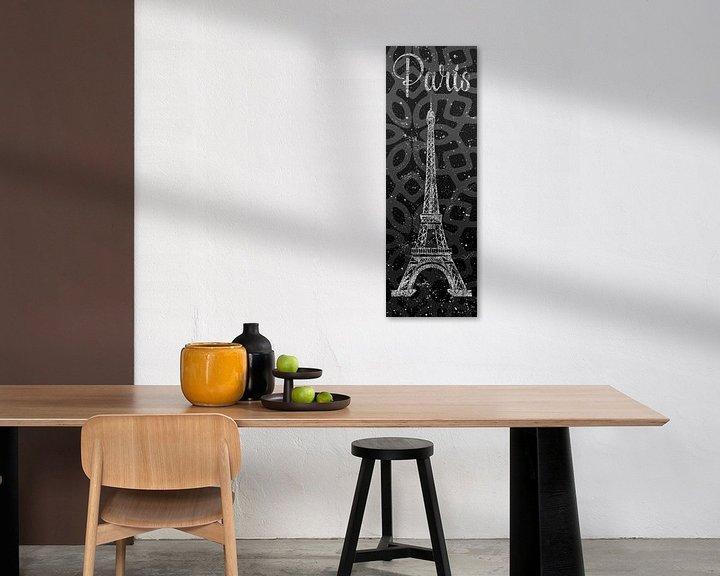 Sfeerimpressie: Grafische Kunst PARIS Eiffel toren | grijs & zilver van Melanie Viola
