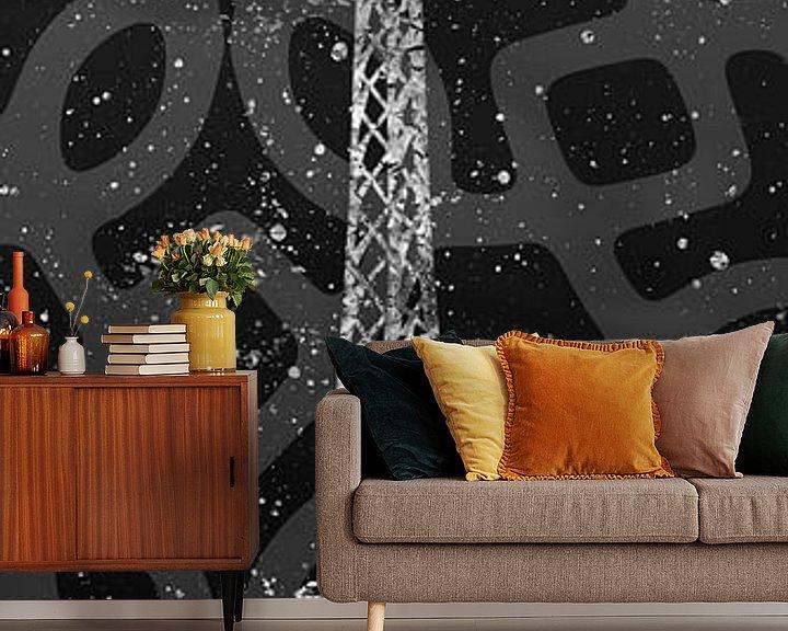 Sfeerimpressie behang: Grafische Kunst PARIS Eiffel toren | grijs & zilver van Melanie Viola