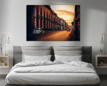 Zonsopkomst in de straten van Puebla - Mexico. van Joris Pannemans - Loris Photography