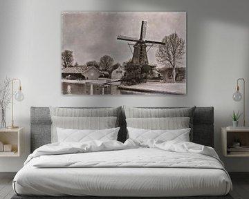 Mühle De Ster in der Winternacht von Jan van der Knaap