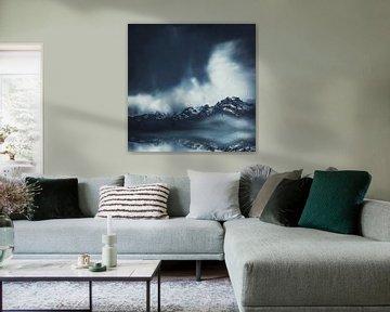 Alpenblick in Blau von Dirk Wüstenhagen