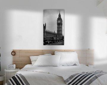 Big Ben und Hackney Wagen schwarz Taxi Taxi in schwarz und weiß von iPics Photography