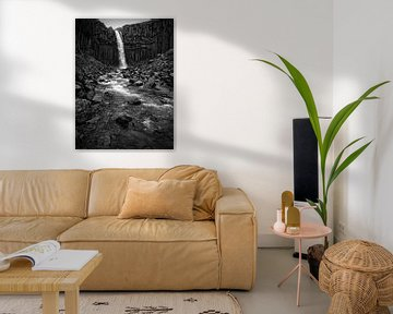 Svartifoss Wasserfall, Island in Schwarzweiss von iPics Photography