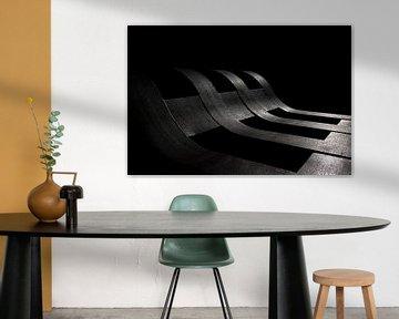 Stahlwerks-Eisenbahnwagen - Zusammenfassung - Schwarz-Weiß von Frens van der Sluis