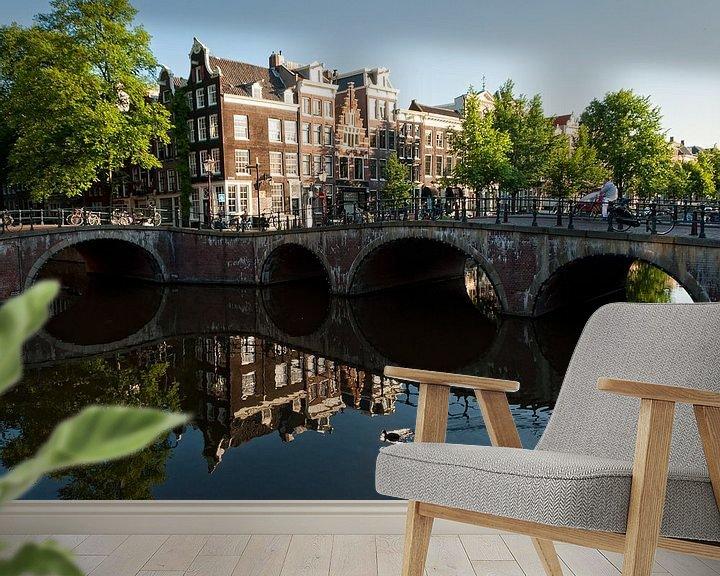 Sfeerimpressie behang: Leidsegrecht en Keizergracht Amsterdam van Tom Elst