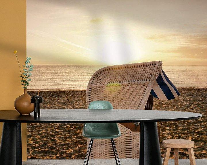 Beispiel fototapete: Strandkorb am Strand bei Sonnenaufgang von PhotoArt Thomas Klee