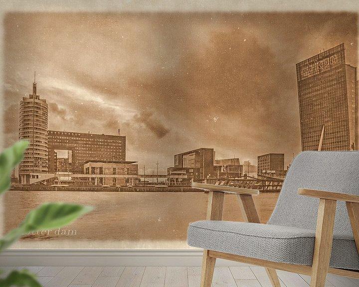 Sfeerimpressie behang: Oude ansichten: Rotterdam Kop van Zuid van Frans Blok