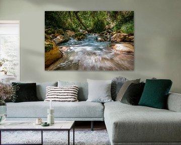Snelstromende bergrivier in de Europese alpen van Fotografiecor .nl