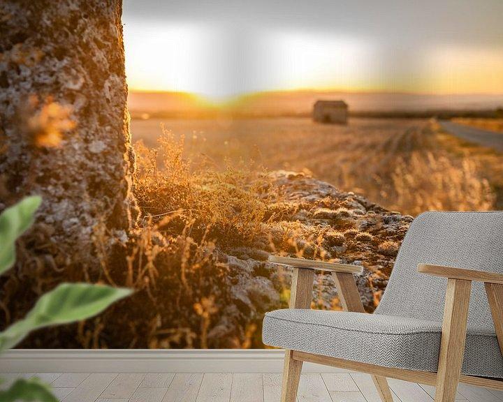 Beispiel fototapete: Intenses warme zonsondergang auf dem plattenland von Fotografiecor .nl