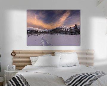 Ochtendgloed boven besneeuwde Alpen sur Jonathan Vandevoorde