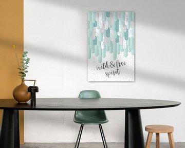 Grafische kunst veren WILD & FREE SPIRIT | mint van Melanie Viola
