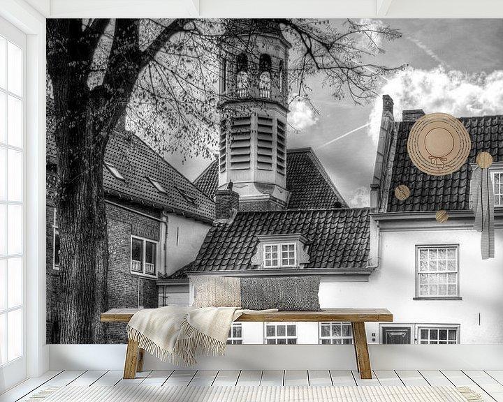 Sfeerimpressie behang: Elleboogkerk en Havik historisch Amersfoort zwartwit van Watze D. de Haan