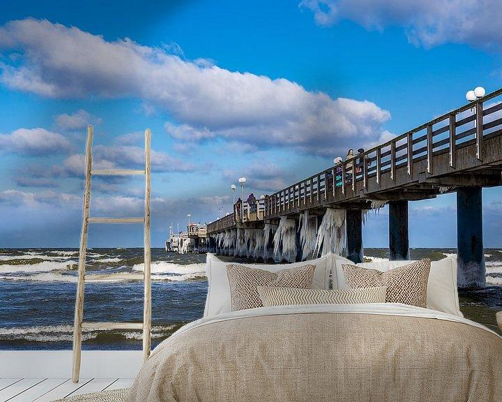 Sfeerimpressie behang: Pier on the Baltic Sea coast in Zingst van Rico Ködder