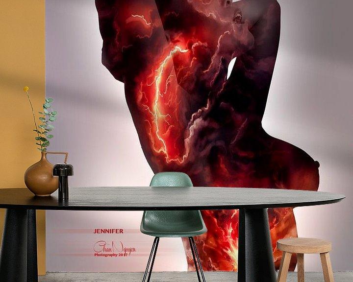 Sfeerimpressie behang: Fire and fury van Chau Nguyen