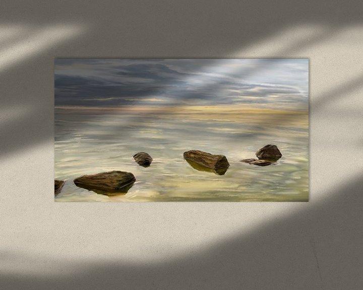 Impression: Coucher de soleil sur la mer par temps calme sur Jan Brons