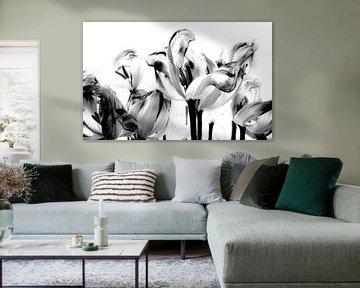 Tulpen in zwart/wit von Iris van Loon