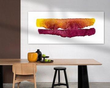 Mountains under the orange sky van WatercolorWall