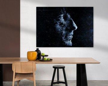 Blaues Gesicht in der Dunkelheit von Atelier Liesjes
