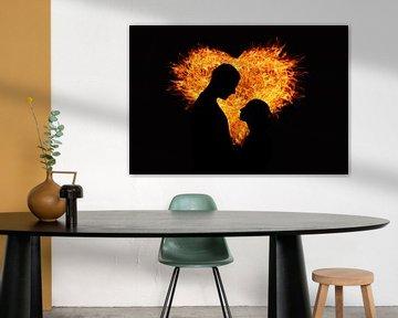 Man en vrouw voor een hart van vuur van Atelier Liesjes