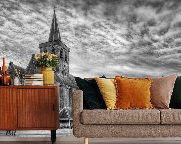 Sfeerimpressie behang: Sint Joriskerk Hof historisch Amersfoort zwartwit van Watze D. de Haan
