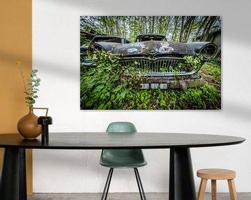 Oldtimer-Auto im Wald von Inge van den Brande