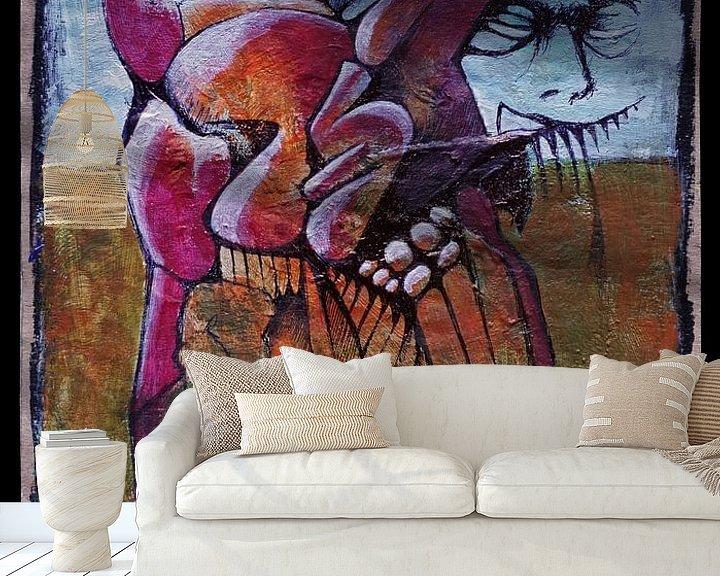 Sfeerimpressie behang: Rode hond van Kuba Bartyński