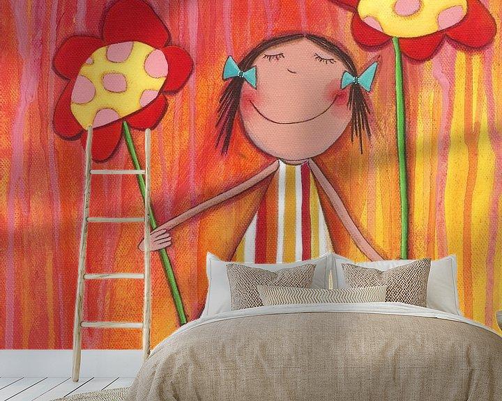 Sfeerimpressie behang: Bloemen Meisje - Schilderij voor Kinderen van Atelier BuntePunkt