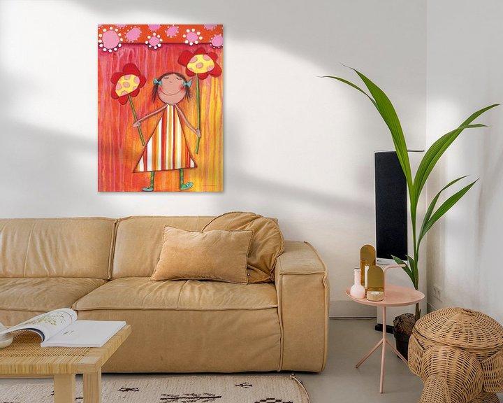 Sfeerimpressie: Bloemen Meisje - Schilderij voor Kinderen van Atelier BuntePunkt