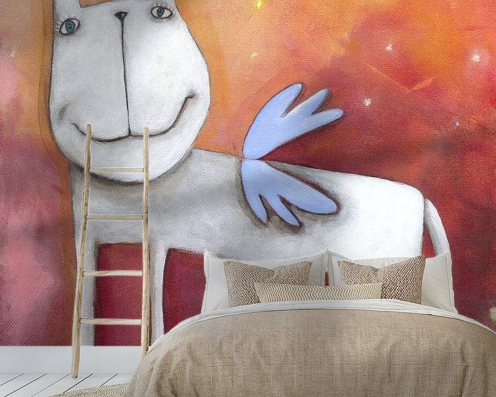 Sfeerimpressie behang: Angel Paard - Schilderij voor Kinderen van Atelier BuntePunkt