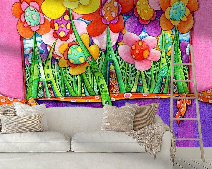 Sfeerimpressie behang: Zonnebloem - Kunst voor Kinderen van Atelier BuntePunkt