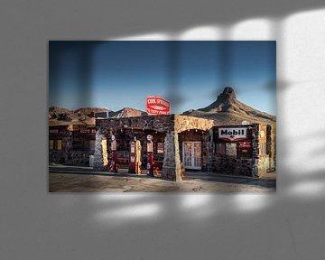 Oud benzinestation op Route 66 van Kurt Krause