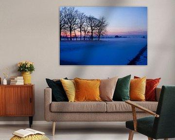 Winterlandschap met zonsondergang von Liesbeth van Asseldonk