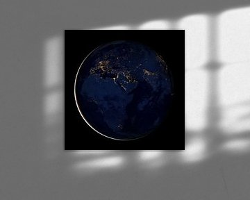 Aardbol 's nachts met zicht op Europe, het Midden Oosten en Afrika