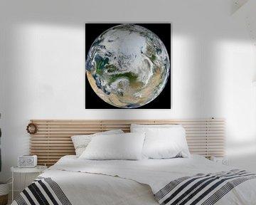 Zicht op de Noordpool en Europa van Atelier Liesjes