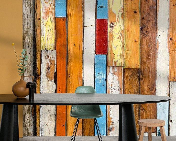 Sfeerimpressie behang: Abstract van lijnenspel met houten planken van Texel eXperience