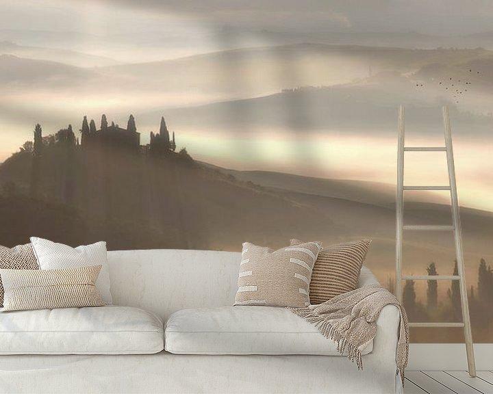 Sfeerimpressie behang: Val d'Orcia van Bart Ceuppens