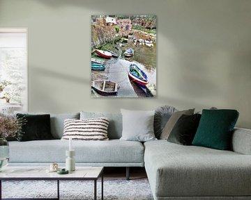 Petits bateaux à Staithes, en Angleterre, au Royaume-Uni sur Atelier Liesjes